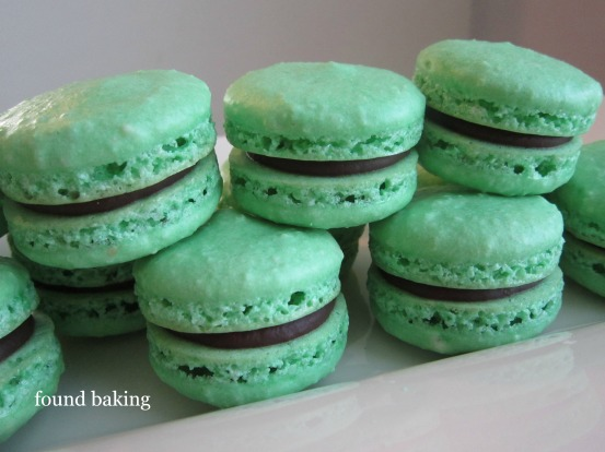 French Macarons with Mint Chocolate Ganache Filling